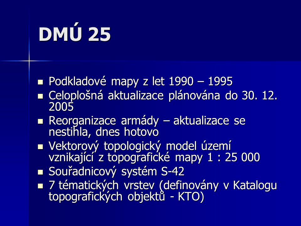 DMÚ 25 Připojení atributů pomocí vazebných položek v rámci vrstev Připojení atributů pomocí vazebných položek v rámci vrstev Možné připojení více atributů k jednomu prvku pomocí vícenásobné relace Možné připojení více atributů k jednomu prvku pomocí vícenásobné relace Dokončeno 1998, od té doby aktualizace Dokončeno 1998, od té doby aktualizace Snaha generalizovat a vytvořit mapu 1 : 50 000 Snaha generalizovat a vytvořit mapu 1 : 50 000 Použitý software je ARC/INFO Použitý software je ARC/INFO