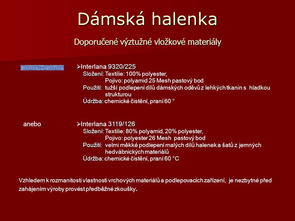 Dámská halenka Doporučené podlepení dílů dámské halenky 9320/225  Interlana 9320/225