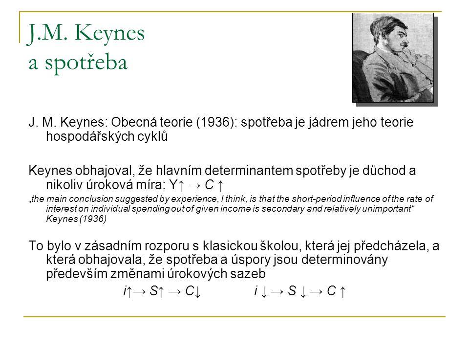 J.M. Keynes a spotřeba J. M. Keynes: Obecná teorie (1936): spotřeba je jádrem jeho teorie hospodářských cyklů Keynes obhajoval, že hlavním determinant