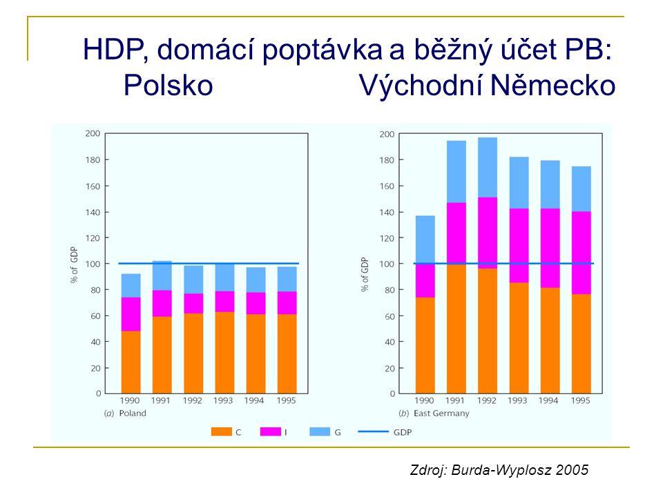 HDP, domácí poptávka a běžný účet PB: Polsko Východní Německo Zdroj: Burda-Wyplosz 2005