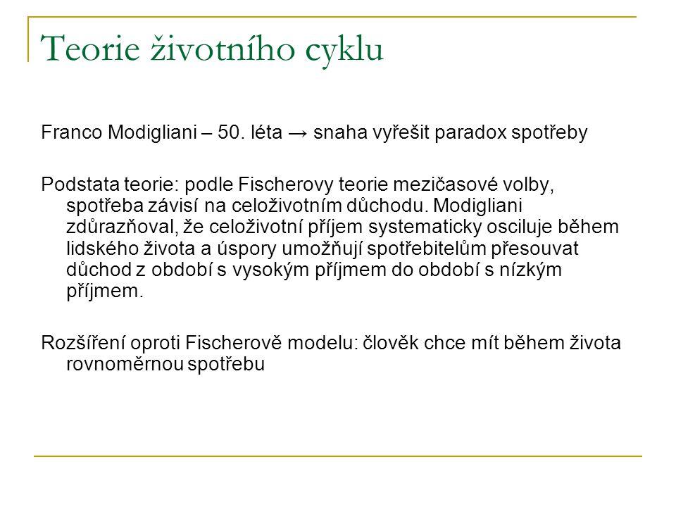 Teorie životního cyklu Franco Modigliani – 50. léta → snaha vyřešit paradox spotřeby Podstata teorie: podle Fischerovy teorie mezičasové volby, spotře