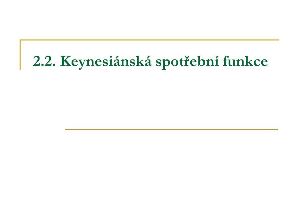 2.2. Keynesiánská spotřební funkce