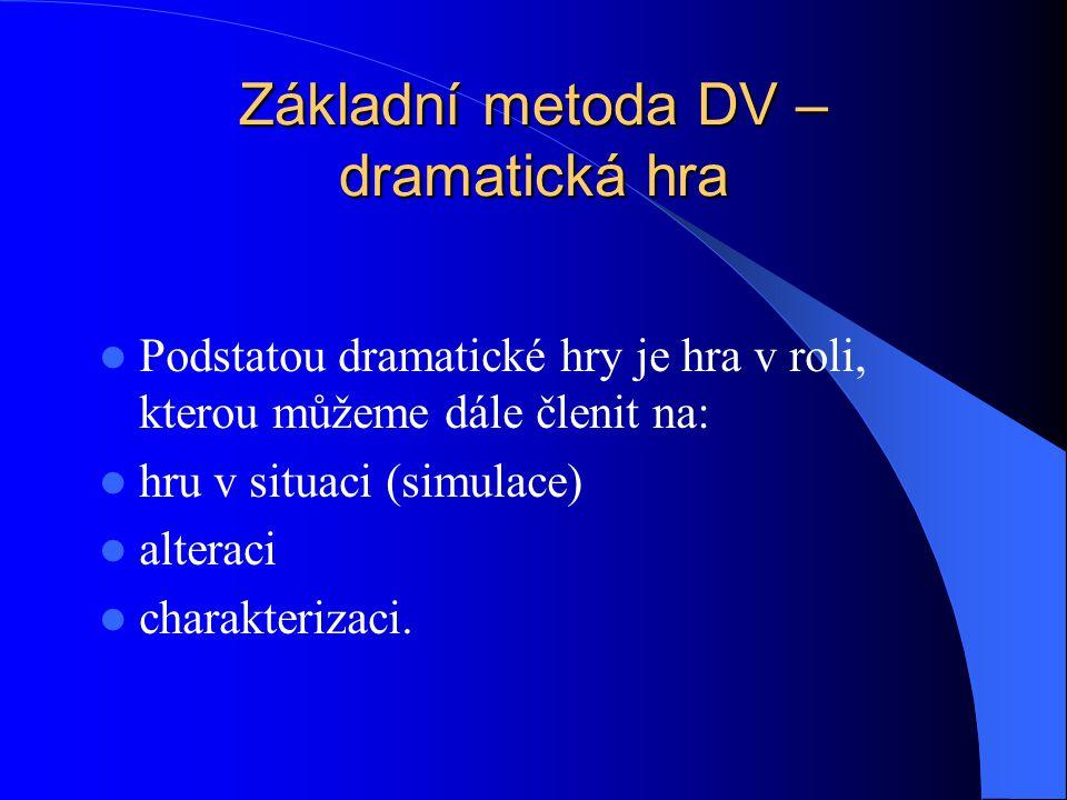 Základní metoda DV – dramatická hra Podstatou dramatické hry je hra v roli, kterou můžeme dále členit na: hru v situaci (simulace) alteraci charakterizaci.