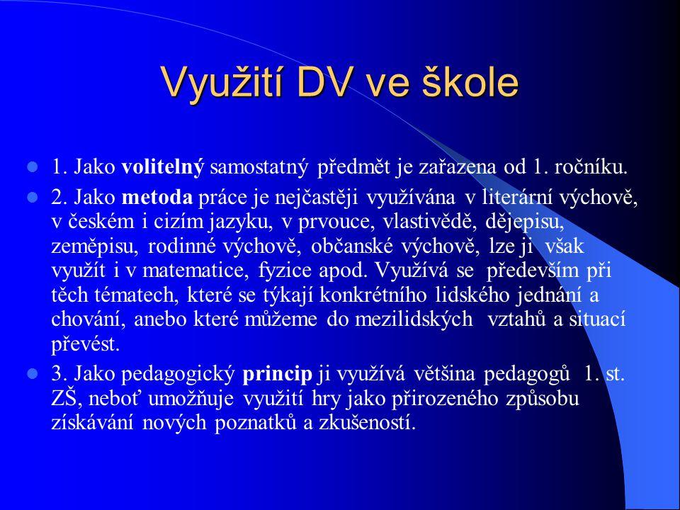 Využití DV ve škole 1. Jako volitelný samostatný předmět je zařazena od 1.