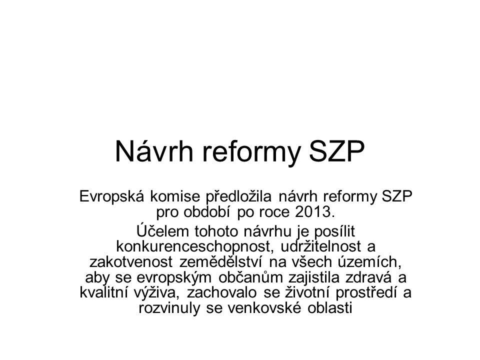 Návrh reformy SZP Evropská komise předložila návrh reformy SZP pro období po roce 2013. Účelem tohoto návrhu je posílit konkurenceschopnost, udržiteln