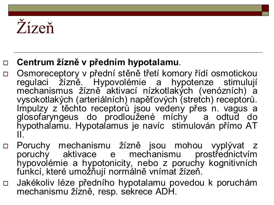Žízeň  Centrum žízně v předním hypotalamu.  Osmoreceptory v přední stěně třetí komory řídí osmotickou regulaci žízně. Hypovolémie a hypotenze stimul