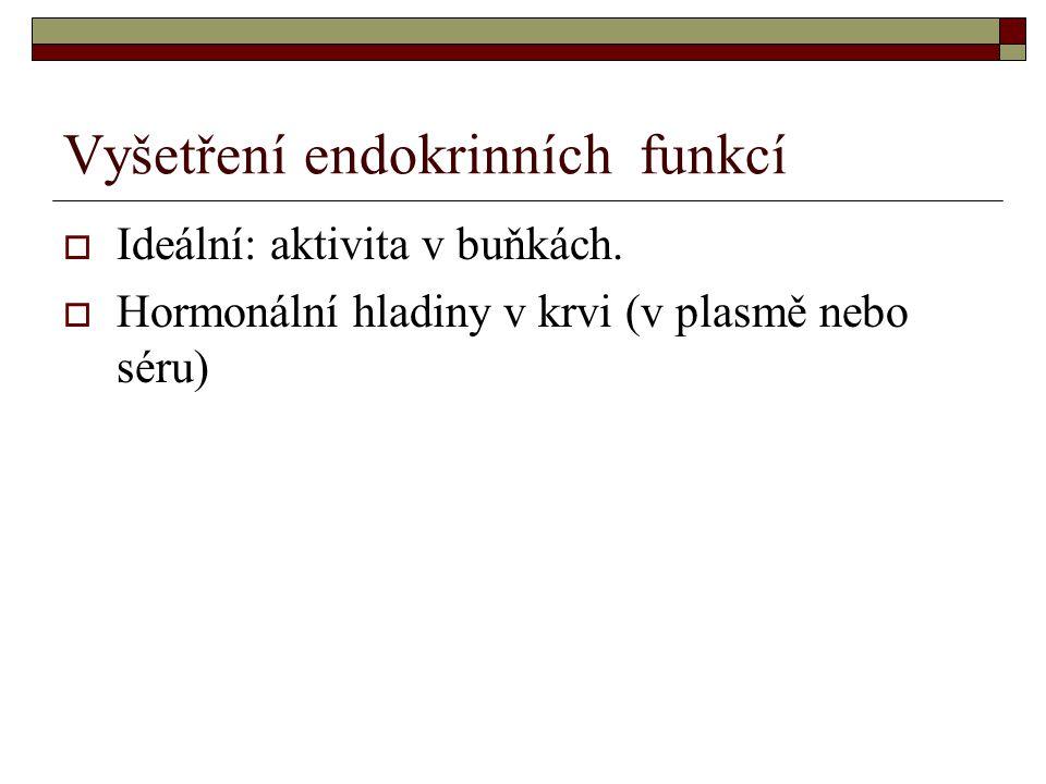 Vyšetření endokrinních funkcí  Ideální: aktivita v buňkách.  Hormonální hladiny v krvi (v plasmě nebo séru)