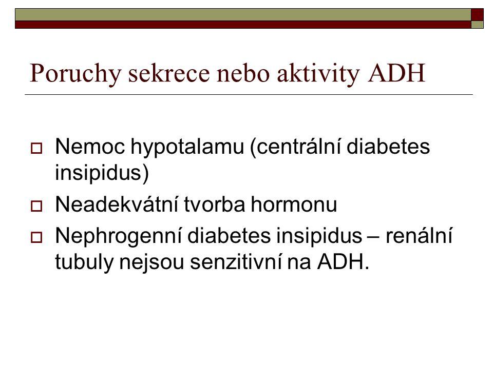 Poruchy sekrece nebo aktivity ADH  Nemoc hypotalamu (centrální diabetes insipidus)  Neadekvátní tvorba hormonu  Nephrogenní diabetes insipidus – re