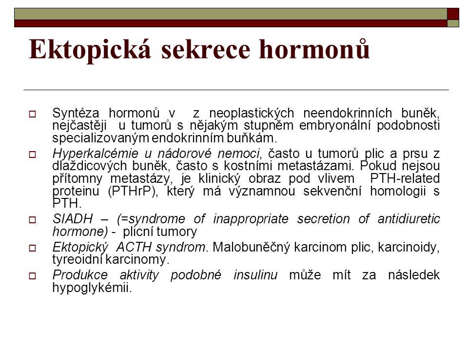Ektopická sekrece hormonů  Syntéza hormonů v z neoplastických neendokrinních buněk, nejčastěji u tumorů s nějakým stupněm embryonální podobnosti spec