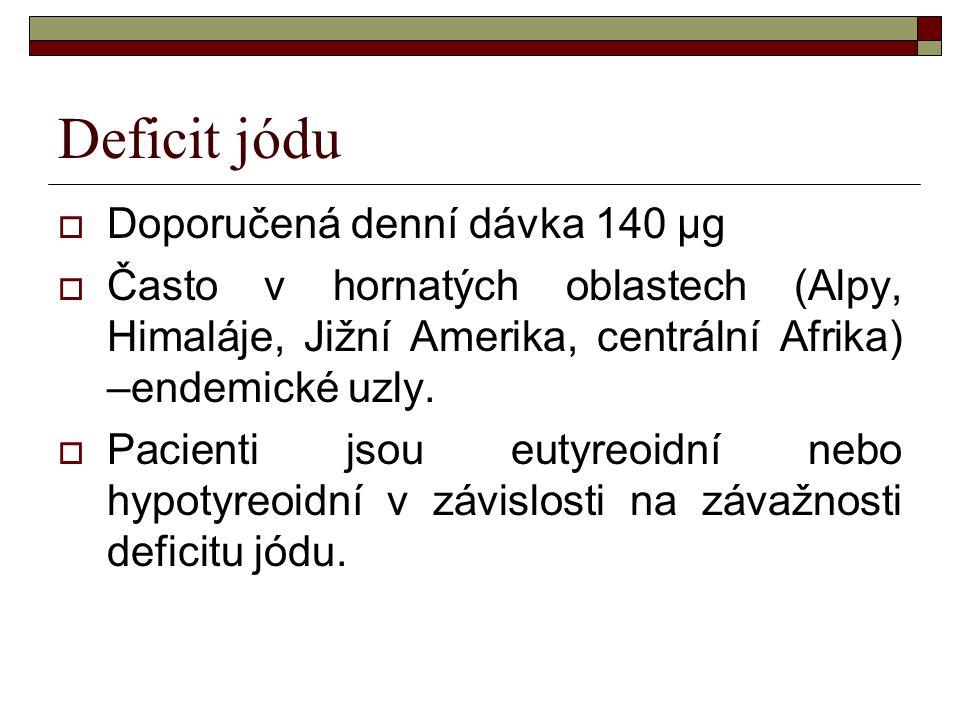Deficit jódu  Doporučená denní dávka 140 μg  Často v hornatých oblastech (Alpy, Himaláje, Jižní Amerika, centrální Afrika) –endemické uzly.  Pacien
