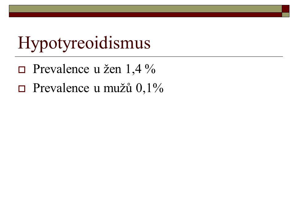 Hypotyreoidismus  Prevalence u žen 1,4 %  Prevalence u mužů 0,1%