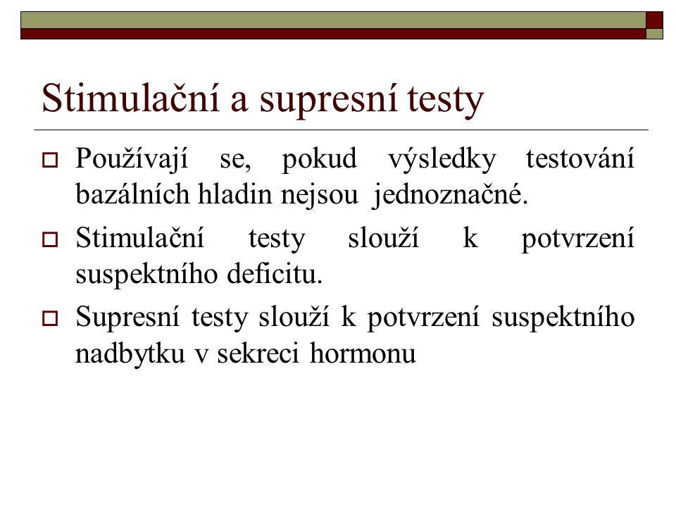 Stimulační a supresní testy  Používají se, pokud výsledky testování bazálních hladin nejsou jednoznačné.  Stimulační testy slouží k potvrzení suspek