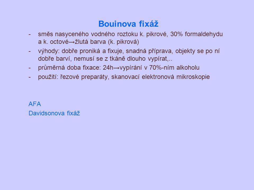 Bouinova fixáž -směs nasyceného vodného roztoku k. pikrové, 30% formaldehydu a k. octové→žlutá barva (k. pikrová) -výhody: dobře proniká a fixuje, sna