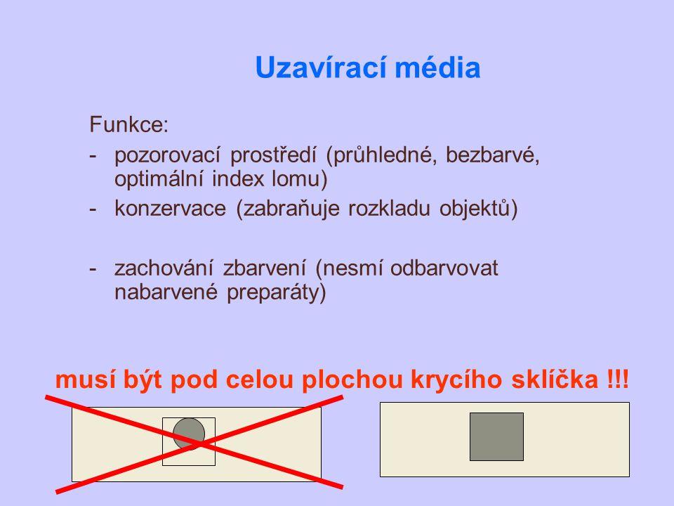Uzavírací média Funkce: -pozorovací prostředí (průhledné, bezbarvé, optimální index lomu) -konzervace (zabraňuje rozkladu objektů) -zachování zbarvení