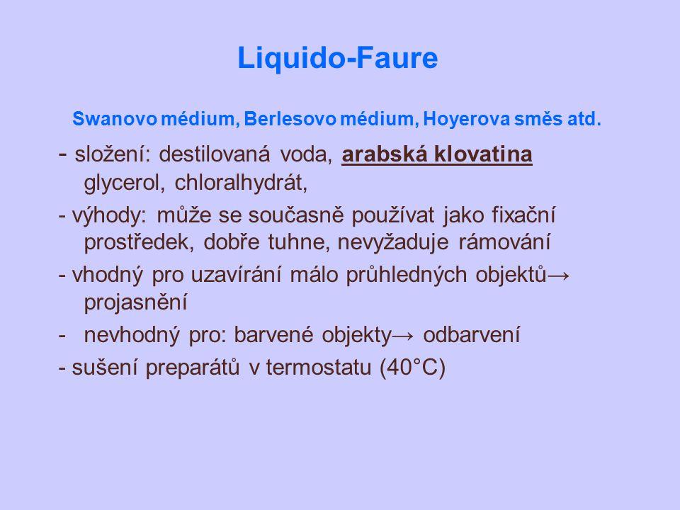 Liquido-Faure Swanovo médium, Berlesovo médium, Hoyerova směs atd. - složení: destilovaná voda, arabská klovatina glycerol, chloralhydrát, - výhody: m