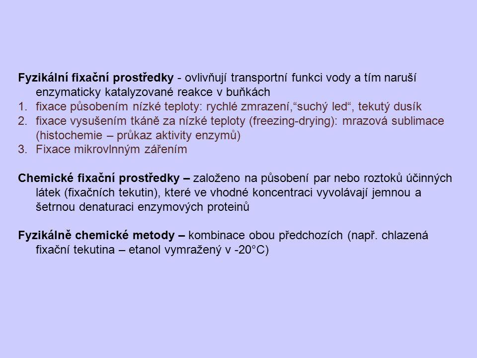 Fyzikální fixační prostředky - ovlivňují transportní funkci vody a tím naruší enzymaticky katalyzované reakce v buňkách 1.fixace působením nízké teplo
