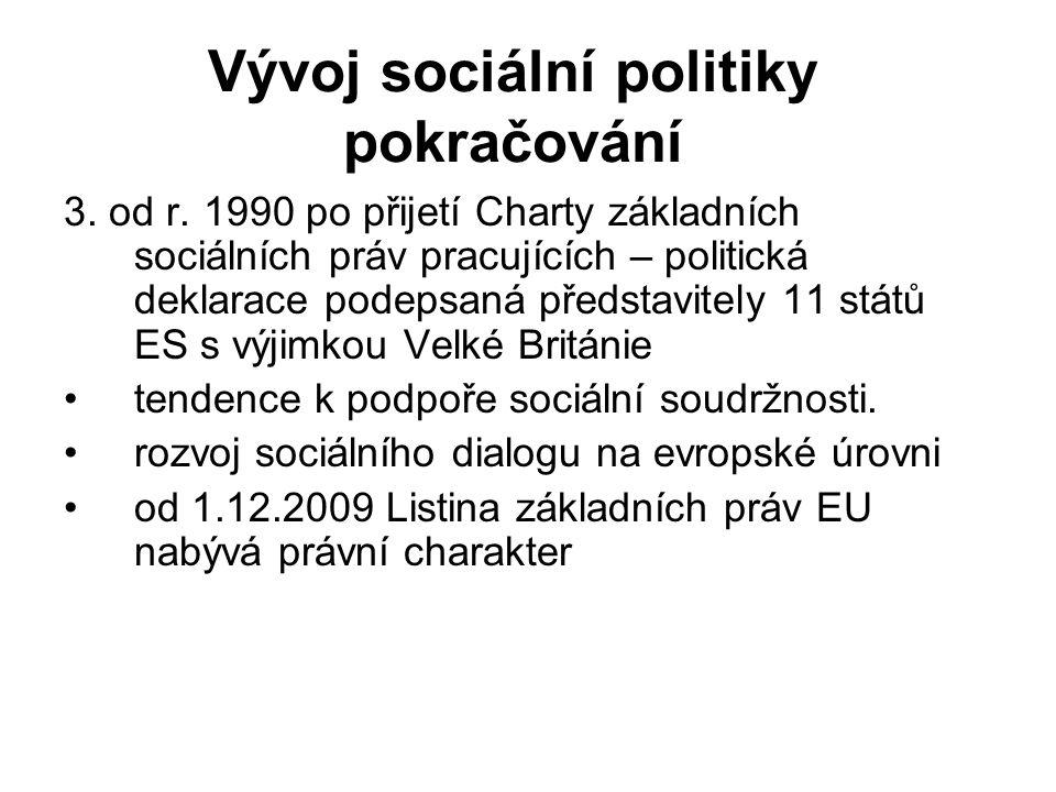 Vývoj sociální politiky pokračování 3. od r. 1990 po přijetí Charty základních sociálních práv pracujících – politická deklarace podepsaná představite