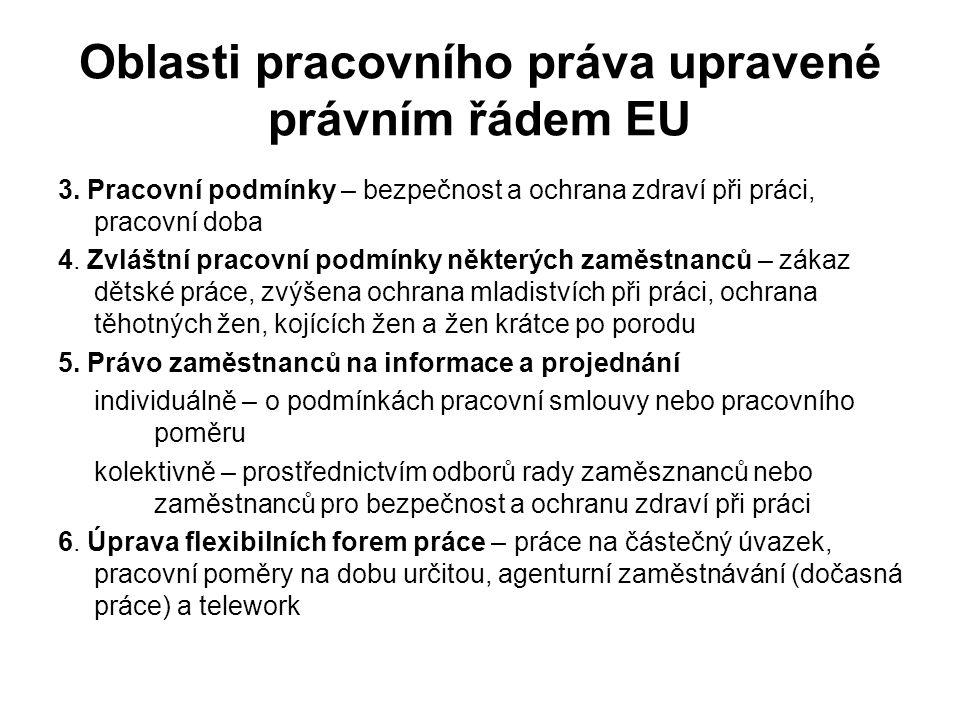 Oblasti pracovního práva upravené právním řádem EU 3.