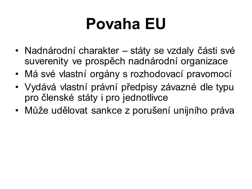 Povaha EU Nadnárodní charakter – státy se vzdaly části své suverenity ve prospěch nadnárodní organizace Má své vlastní orgány s rozhodovací pravomocí