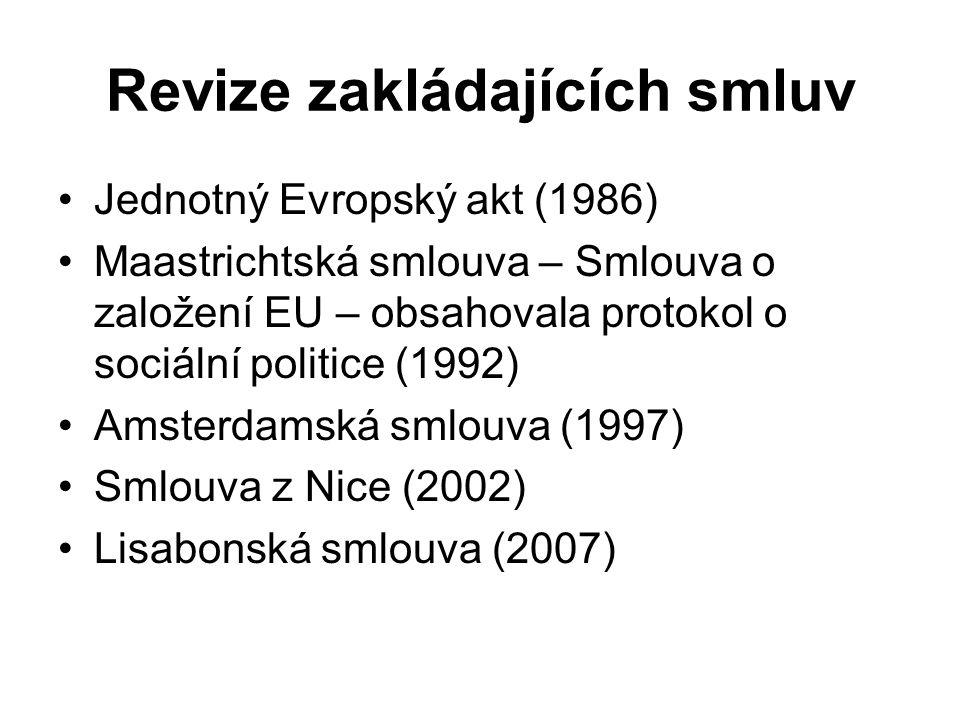 Revize zakládajících smluv Jednotný Evropský akt (1986) Maastrichtská smlouva – Smlouva o založení EU – obsahovala protokol o sociální politice (1992)