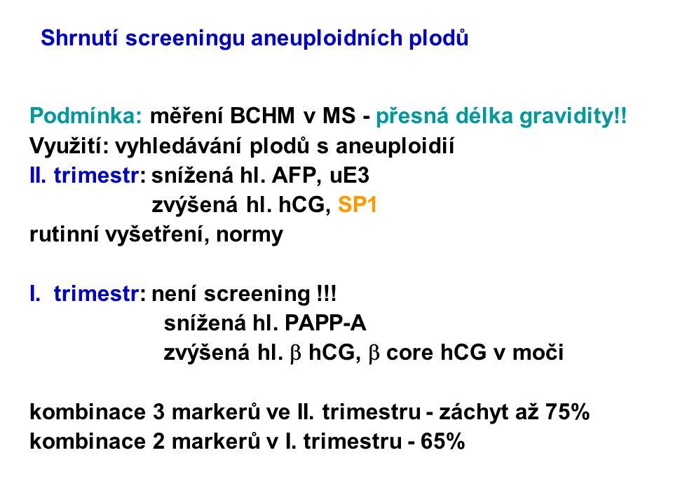 Shrnutí screeningu aneuploidních plodů Podmínka: měření BCHM v MS - přesná délka gravidity!! Využití: vyhledávání plodů s aneuploidií II. trimestr: sn