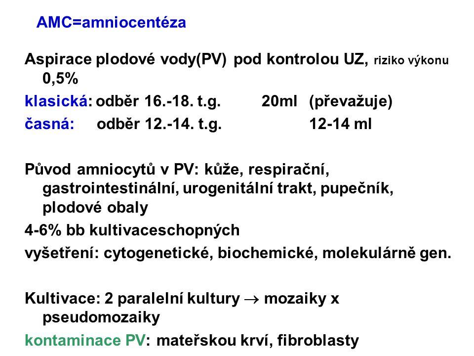 AMC=amniocentéza Aspirace plodové vody(PV) pod kontrolou UZ, riziko výkonu 0,5% klasická: odběr 16.-18. t.g. 20ml(převažuje) časná: odběr 12.-14. t.g.