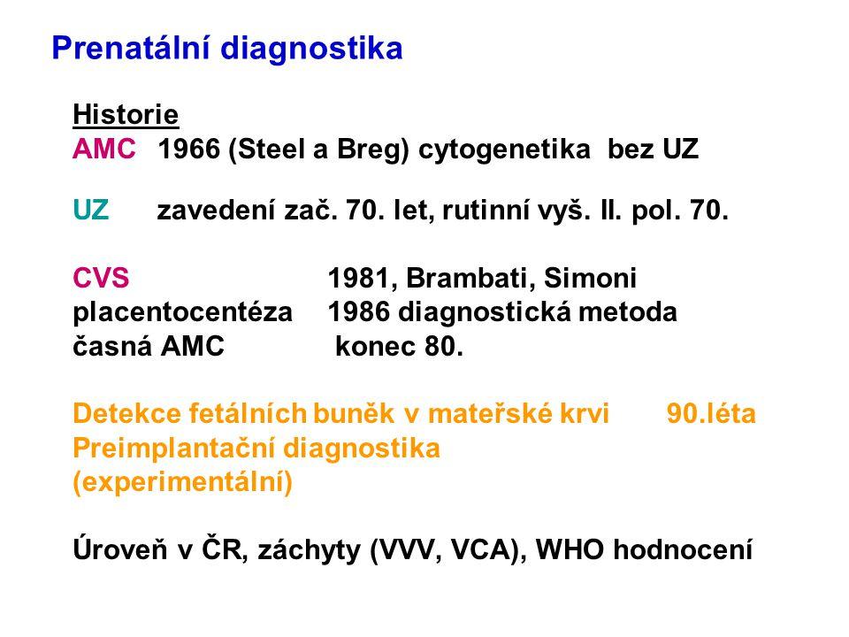 Prenatální diagnostika Historie AMC1966 (Steel a Breg) cytogenetika bez UZ UZ zavedení zač. 70. let, rutinní vyš. II. pol. 70. CVS1981, Brambati, Simo