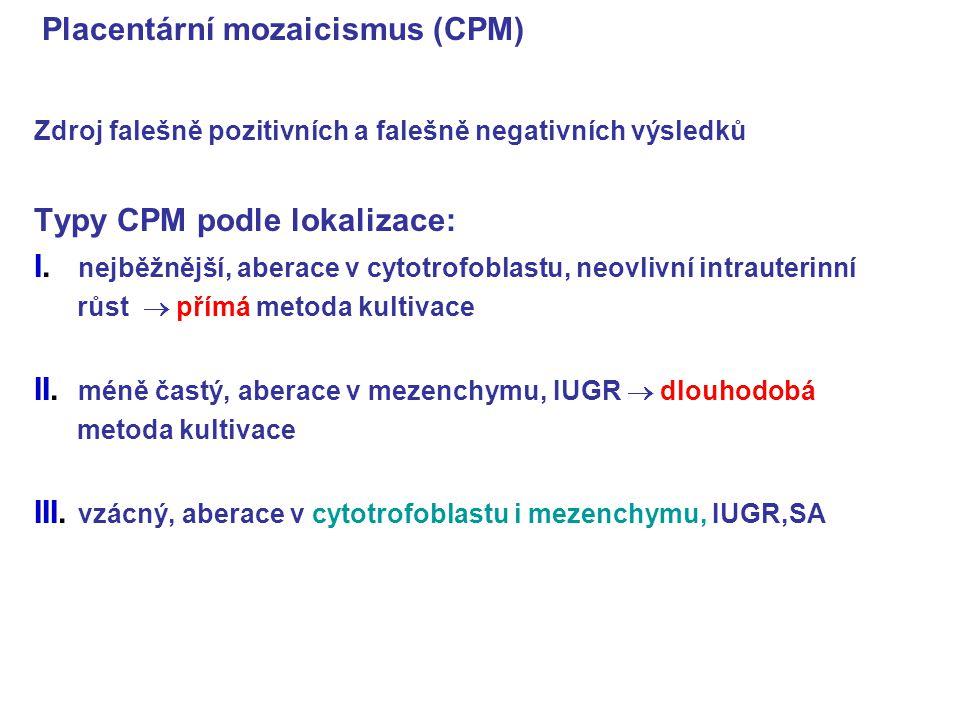 Placentární mozaicismus (CPM) Zdroj falešně pozitivních a falešně negativních výsledků Typy CPM podle lokalizace: I. nejběžnější, aberace v cytotrofob