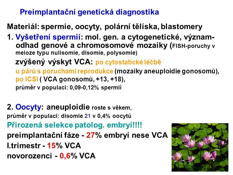 Preimplantační genetická diagnostika Materiál: spermie, oocyty, polární tělíska, blastomery 1. Vyšetření spermií: mol. gen. a cytogenetické, význam- o
