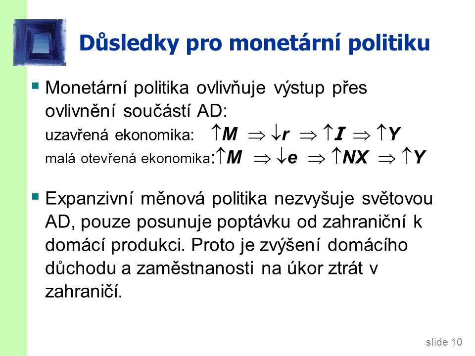 slide 10 Důsledky pro monetární politiku  Monetární politika ovlivňuje výstup přes ovlivnění součástí AD: uzavřená ekonomika:  M  r   I   Y malá otevřená ekonomika :  M  e   NX   Y  Expanzivní měnová politika nezvyšuje světovou AD, pouze posunuje poptávku od zahraniční k domácí produkci.