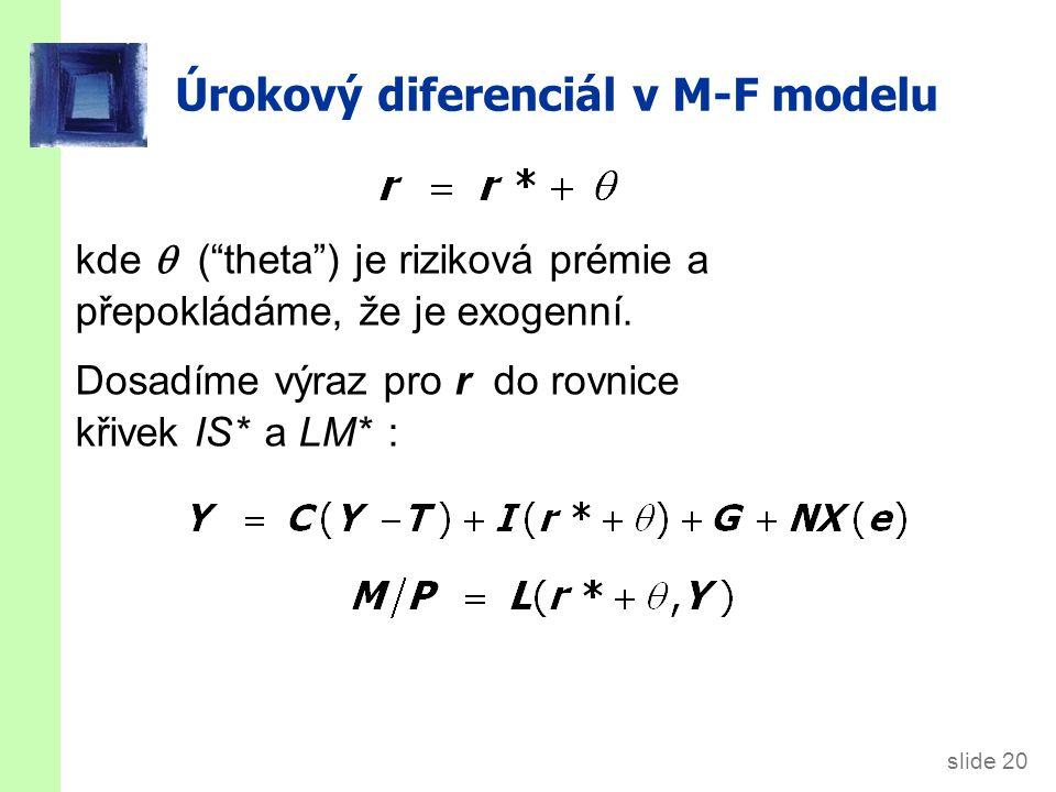 """slide 20 Úrokový diferenciál v M-F modelu kde  (""""theta"""") je riziková prémie a přepokládáme, že je exogenní. Dosadíme výraz pro r do rovnice křivek IS"""