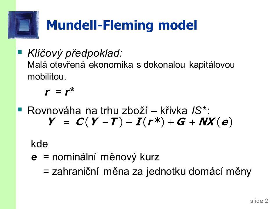 slide 2 Mundell-Fleming model  Klíčový předpoklad: Malá otevřená ekonomika s dokonalou kapitálovou mobilitou. r = r*  Rovnováha na trhu zboží – křiv