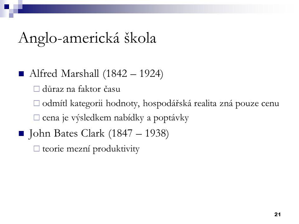21 Anglo-americká škola Alfred Marshall (1842 – 1924)  důraz na faktor času  odmítl kategorii hodnoty, hospodářská realita zná pouze cenu  cena je