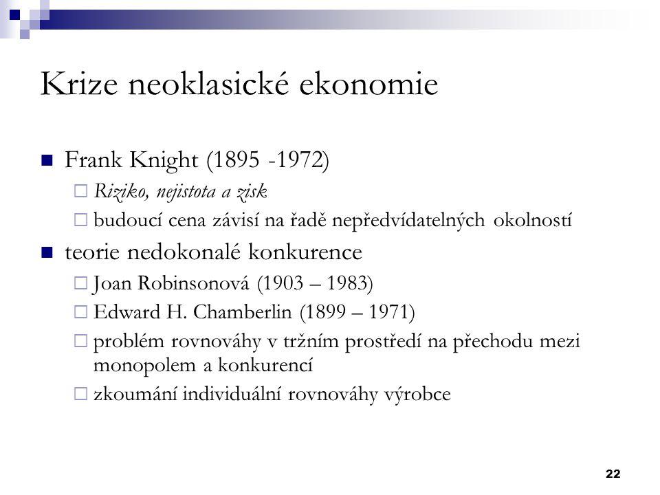 22 Krize neoklasické ekonomie Frank Knight (1895 -1972)  Riziko, nejistota a zisk  budoucí cena závisí na řadě nepředvídatelných okolností teorie ne