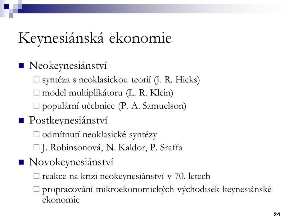 24 Keynesiánská ekonomie Neokeynesiánství  syntéza s neoklasickou teorií (J. R. Hicks)  model multiplikátoru (L. R. Klein)  populární učebnice (P.