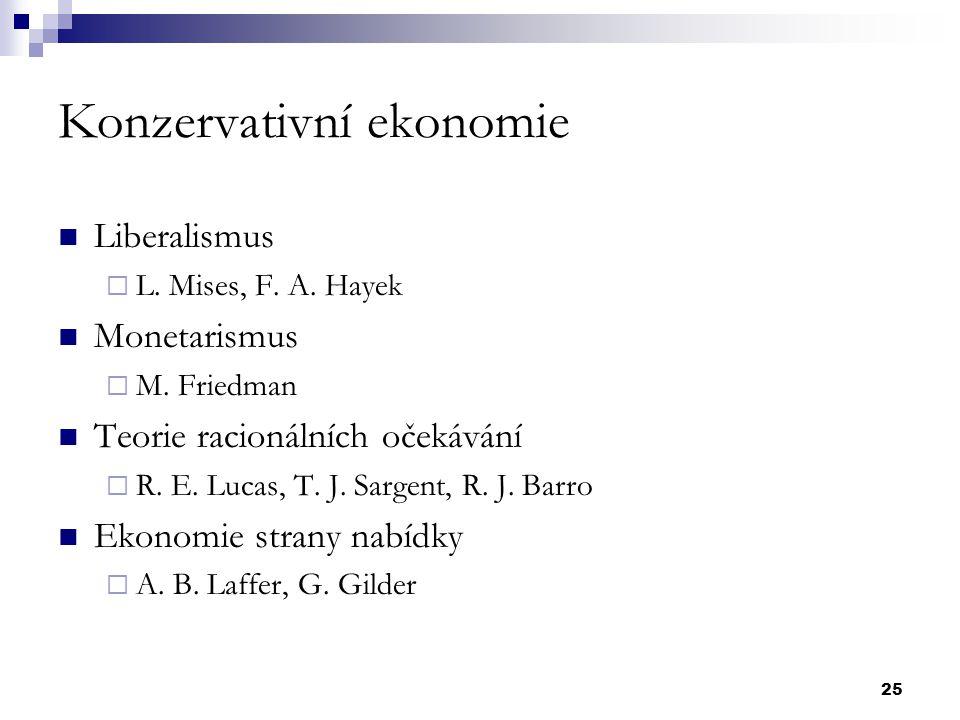25 Konzervativní ekonomie Liberalismus  L. Mises, F. A. Hayek Monetarismus  M. Friedman Teorie racionálních očekávání  R. E. Lucas, T. J. Sargent,