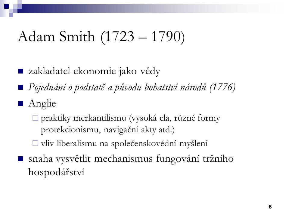 17 Neoklasická ekonomie Rakouská psychologická škola Lausannská matematická škola Anglo-americká škola