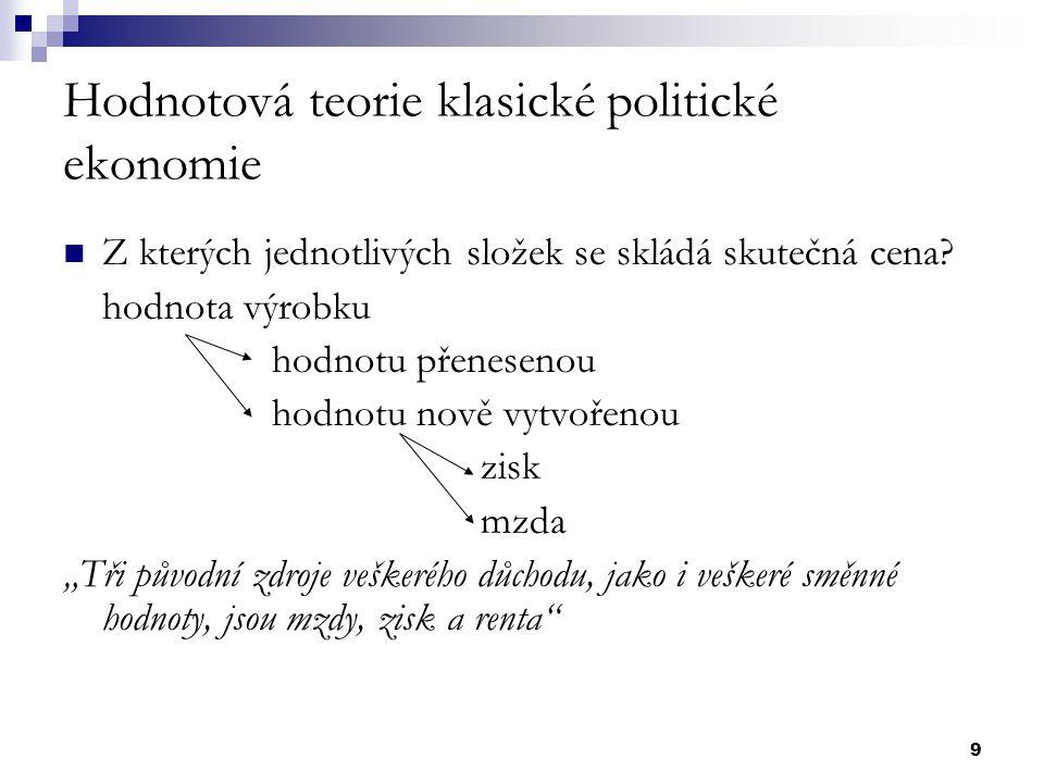 9 Hodnotová teorie klasické politické ekonomie Z kterých jednotlivých složek se skládá skutečná cena? hodnota výrobku hodnotu přenesenou hodnotu nově