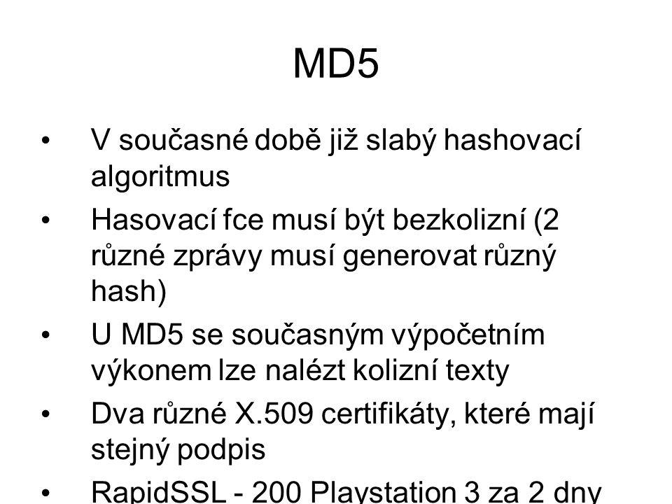 MD5 V současné době již slabý hashovací algoritmus Hasovací fce musí být bezkolizní (2 různé zprávy musí generovat různý hash) U MD5 se současným výpo