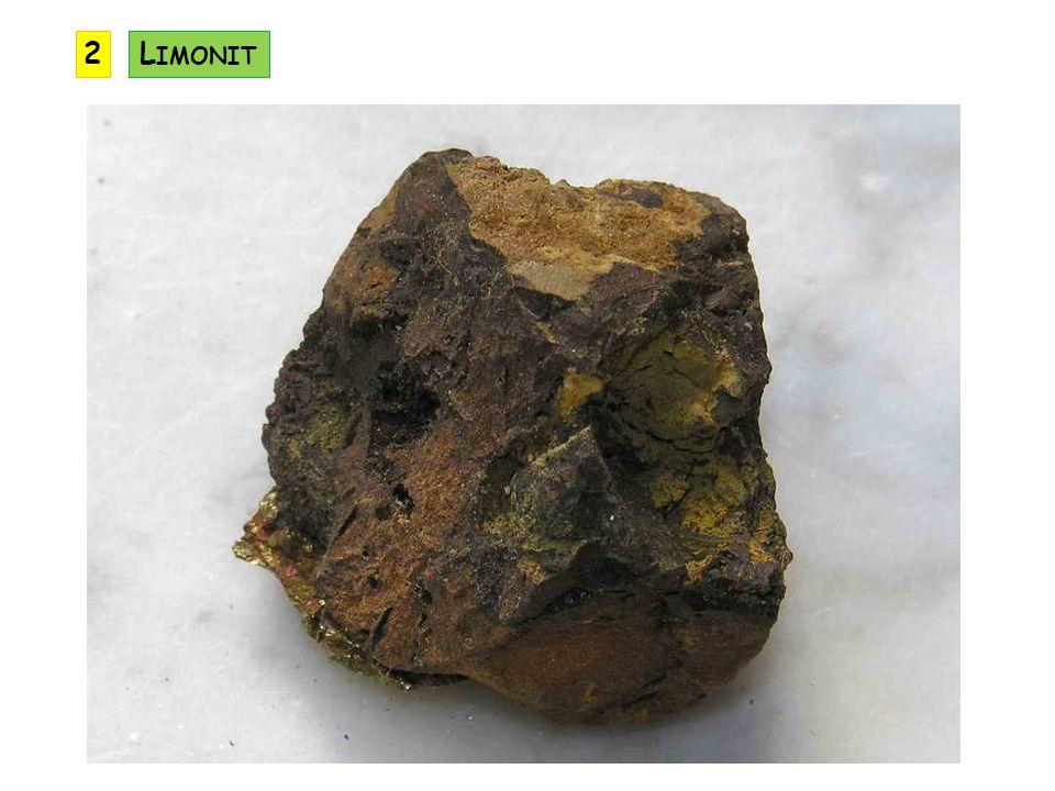 je složen z několika nerostů, převažují vodnaté oxidy hliníku, jako příměsi mohou být vodnaté oxidy železa a křemíku vzniká tropickým zvětráváním význam: ruda hliníku výskyt: jižní Francie, Maďarsko, Jamajka, Kanada výskyt v ČR: Znojemsko, Letovicko B AUXIT A L 2 O 3.nH 2 O KRYSTALOVÁ SOUSTAVA: různá ŠTĚPNOST: žádná TVRDOST: 2 LOM: lasturnatý HUSTOTA: 2,3 až 2,7 VRYP: bílý, červený, hnědý BARVA: hnědožlutá, červená LESK: matný, zrnitý