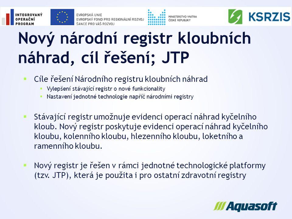 Nový národní registr kloubních náhrad, cíl řešení; JTP  Cíle řešení Národního registru kloubních náhrad  Vylepšení stávající registr o nové funkcion