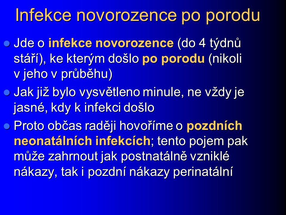 Infekce novorozence po porodu Jde o infekce novorozence (do 4 týdnů stáří), ke kterým došlo po porodu (nikoli v jeho v průběhu) Jde o infekce novoroze