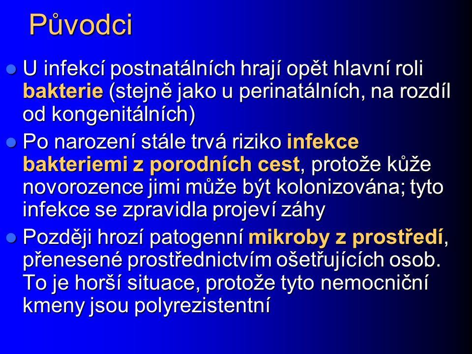 Klinické stavy Konjunktivitida: vůbec nejčastější infekce novorozenců Konjunktivitida: vůbec nejčastější infekce novorozenců Zánět pupečníku Zánět pupečníku Záněty horních cest dýchacích (10 až 20 %) Záněty horních cest dýchacích (10 až 20 %) Soor (moučnivka) v dutině ústní, zejména u nedonošenců Soor (moučnivka) v dutině ústní, zejména u nedonošenců Purulentní meningitida představuje sice jen asi 1 %, avšak velice závažná Purulentní meningitida představuje sice jen asi 1 %, avšak velice závažná Infekce GIT (enteropatogenní Escherichia coli) Infekce GIT (enteropatogenní Escherichia coli) Různé další Různé další