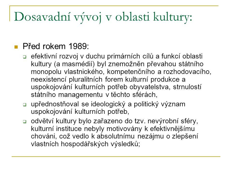 Dosavadní vývoj v oblasti kultury: Před rokem 1989:  efektivní rozvoj v duchu primárních cílů a funkcí oblasti kultury (a masmédií) byl znemožněn převahou státního monopolu vlastnického, kompetenčního a rozhodovacího, neexistencí pluralitních forem kulturní produkce a uspokojování kulturních potřeb obyvatelstva, strnulostí státního managementu v těchto sférách,  upřednostňoval se ideologický a politický význam uspokojování kulturních potřeb,  odvětví kultury bylo zařazeno do tzv.