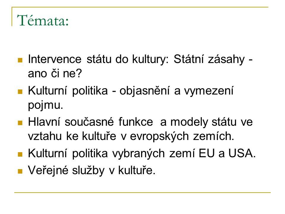 Témata: Intervence státu do kultury: Státní zásahy - ano či ne.