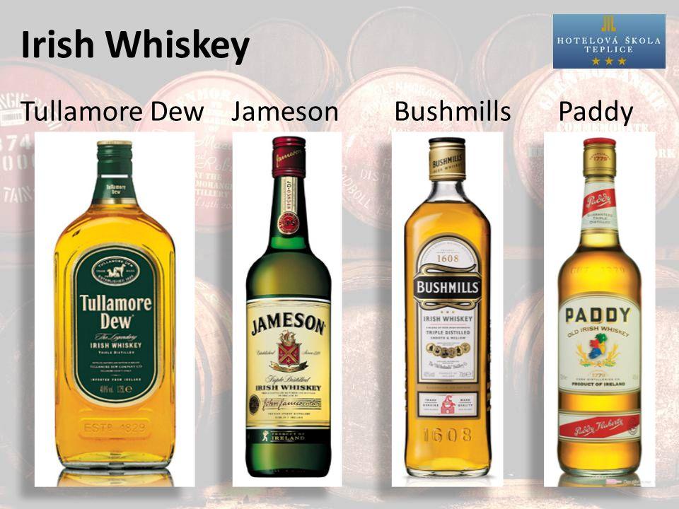 Bourbon Whiskey minimálně 51% kukuřičného sladu zraje minimálně 3 roky v nových sudech z amerického bílého dubu název podle města Bourbon County v Kentucky NE všechny americké whiskey se označují Bourbon!