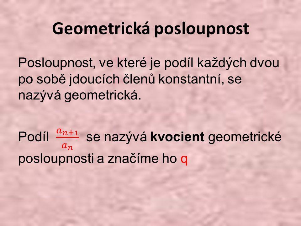 Vzorce pro výpočet geometrické posloupnosti