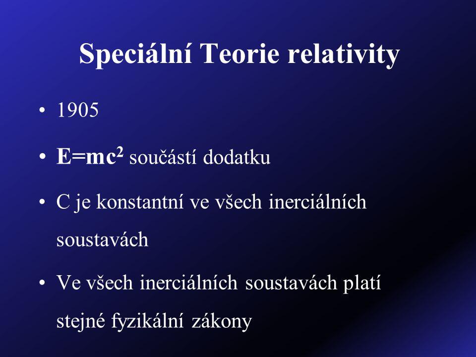 Speciální Teorie relativity 1905 E=mc 2 součástí dodatku C je konstantní ve všech inerciálních soustavách Ve všech inerciálních soustavách platí stejn