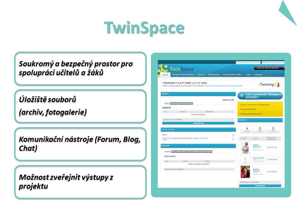 TwinSpace Soukromý a bezpečný prostor pro spolupráci učitelů a žáků Úložiště souborů (archiv, fotogalerie) Komunikační nástroje (Forum, Blog, Chat) Mo
