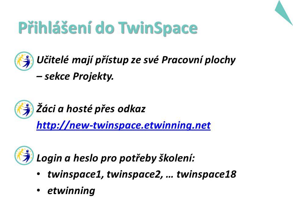 Přihlášení do TwinSpace Učitelé mají přístup ze své Pracovní plochy – sekce Projekty. Žáci a hosté přes odkaz http://new-twinspace.etwinning.net Login